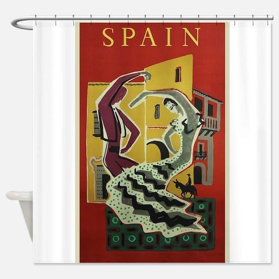 Spain,Flamenco, Travel, Vintage Poster Shower Curt
