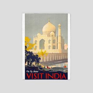 Taj Mahal, India, Travel, Vintage Poster 5'x7'Area