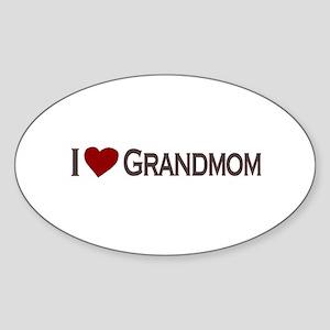 I Love Grandmom Oval Sticker