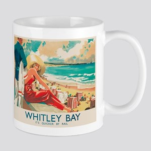 Whitley Bay, England, Travel, Vintage Poster Mugs