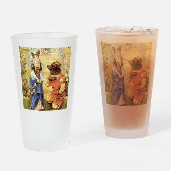Vintage Beauty and the Beast Drinking Glass