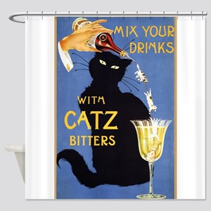 Cat Bitters, Drinks, Cat, Vintage Poster Shower Cu