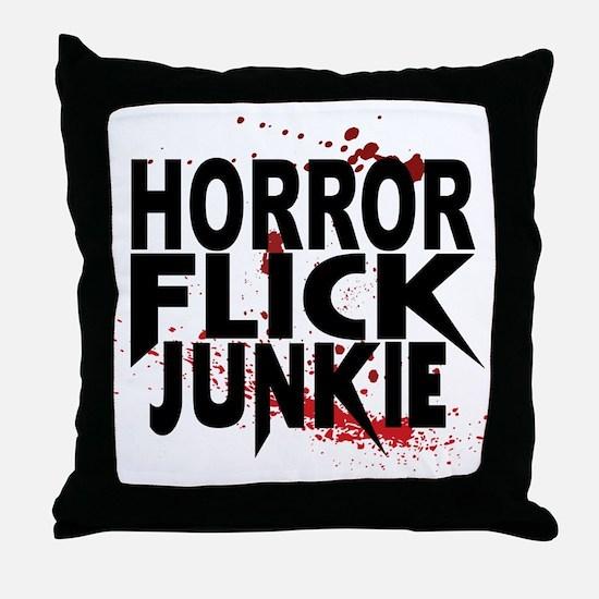 Horror Flick Junkie Throw Pillow
