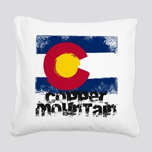Copper Mountain Grunge Flag Square Canvas Pillow