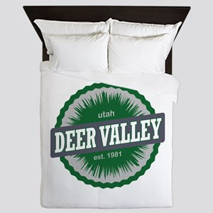 Deer Valley Ski Resort Utah Green Queen Duvet