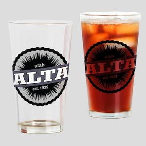 Alta Ski Resort Utah Black Drinking Glass