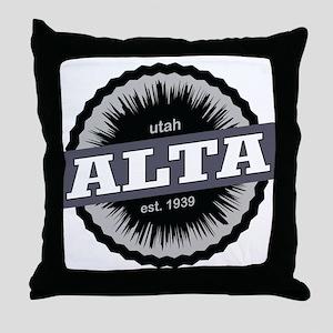 Alta Ski Resort Utah Black Throw Pillow