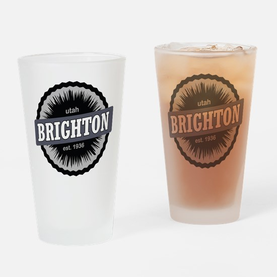 Brighton Ski Resort Utah Black Drinking Glass