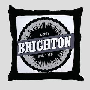 Brighton Ski Resort Utah Black Throw Pillow