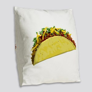 Taco Burlap Throw Pillow