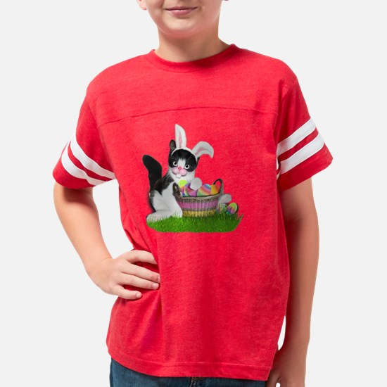 Easter Kitten with Basket of  Youth Football Shirt