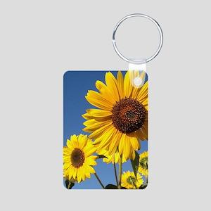 Double Sunflower Aluminum Photo Keychain