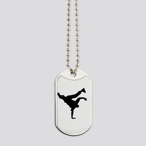 BBOY silhouette blk Dog Tags