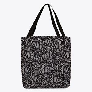 Black Lace Polyester Tote Bag