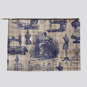 Vintage Sewing Toile Makeup Pouch