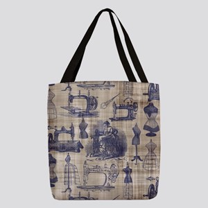 Vintage Sewing Toile Polyester Tote Bag