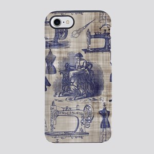 Vintage Sewing Toile iPhone 7 Tough Case