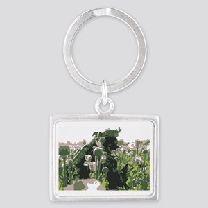 Operator walking through poppy  Landscape Keychain