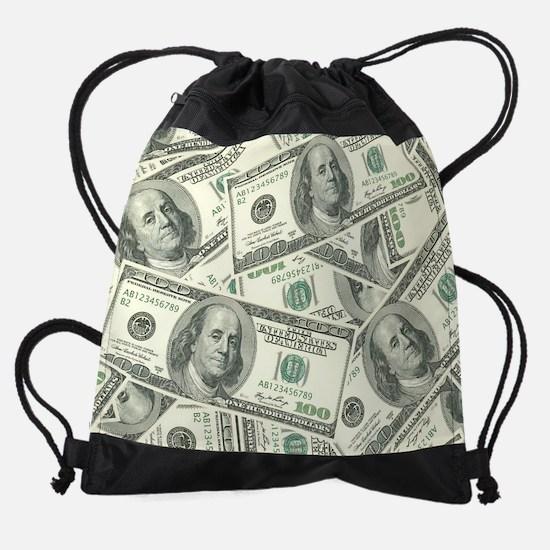 100 Dollar Bill Pattern Drawstring Bag