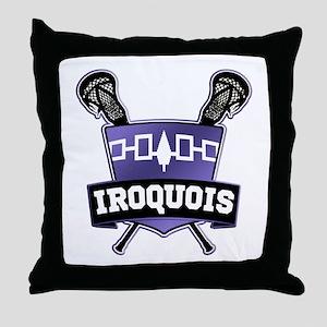 Iroquois Nation Flag Lacrosse Logo Throw Pillow
