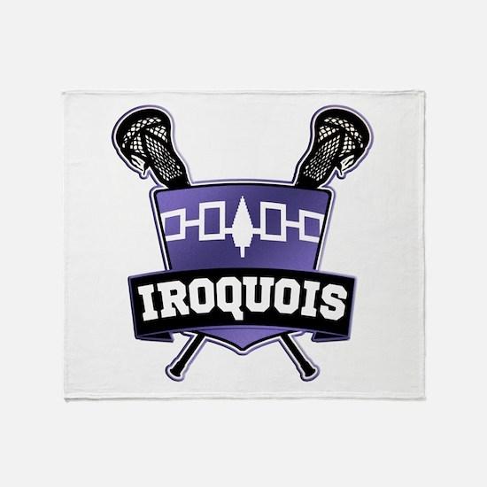 Iroquois Nation Flag Lacrosse Logo Throw Blanket