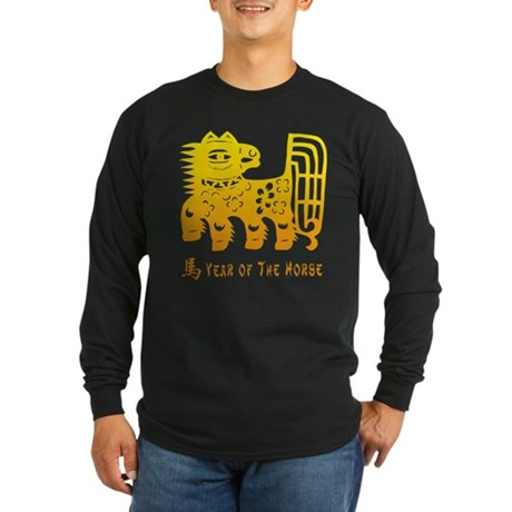 Year of The Horse Paper Cut Long Sleeve Dark T-Shi