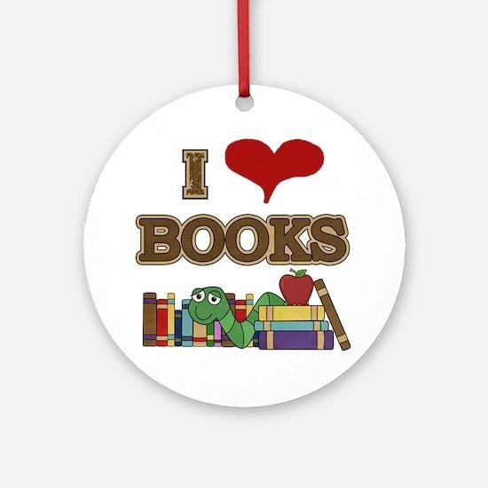 I Love Books Ornament (Round)
