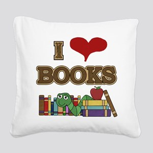 I Love Books Square Canvas Pillow