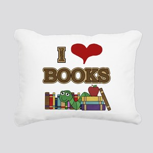 I Love Books Rectangular Canvas Pillow