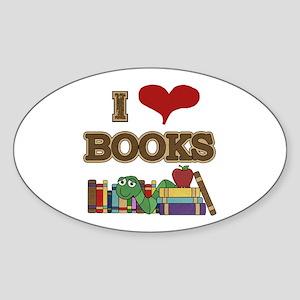I Love Books Sticker (Oval)