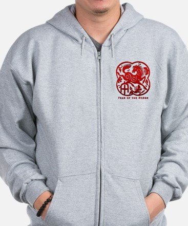 Chinese Papercut Year of The Horse Zip Hoodie