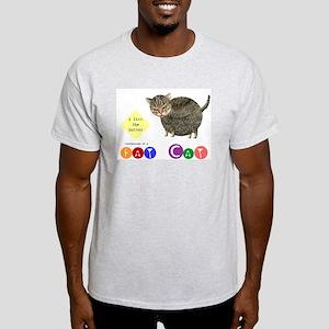 Fat Cat licks the butter Ash Grey T-Shirt