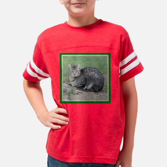 GRAY TABBY CAT TILE Youth Football Shirt