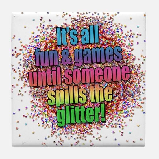 ..someone spills the glitter... Tile Coaster