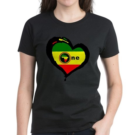 Afrika Rasta Heart I Women's Dark T-Shirt