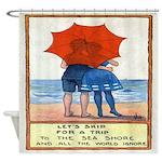 Vintage Beach Quote Postcard Shower Curtain