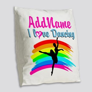 DANCING GIRL Burlap Throw Pillow