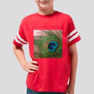 Close Up Pink Peacock Feather Youth Football Shirt