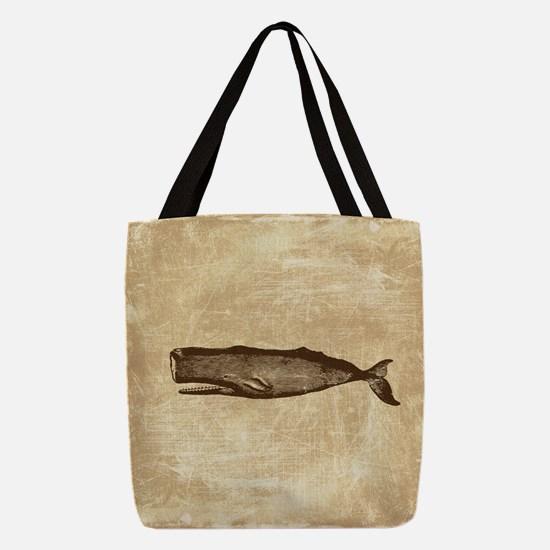 Vintage Whale Brown Polyester Tote Bag