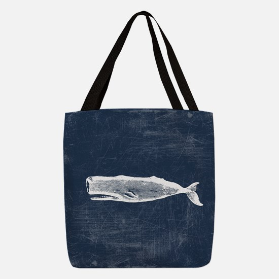 Vintage Whale White Polyester Tote Bag