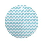 Blue Chevron Ornament (Round)