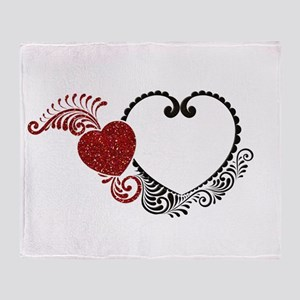Black Heart with Red Glitter Heart Throw Blanket