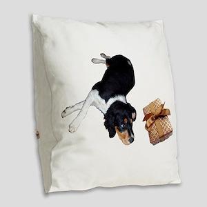 Puppy Present Burlap Throw Pillow