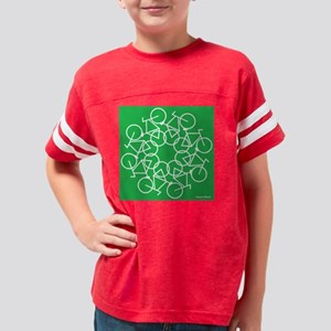 bicycles art - white - green  Youth Football Shirt