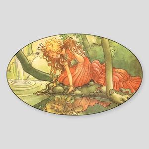 Vintage Fairy Tale Princess Sticker (Oval)