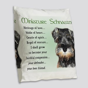 Miniature Schnauzer Burlap Throw Pillow