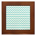 Blue Chevron Framed Tile