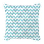 Blue Chevron Woven Throw Pillow
