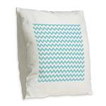 Blue Chevron Burlap Throw Pillow