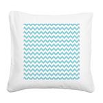 Blue Chevron Square Canvas Pillow